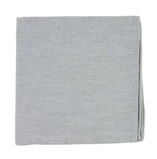Flannel Herringbone Light Grey Pocket Square
