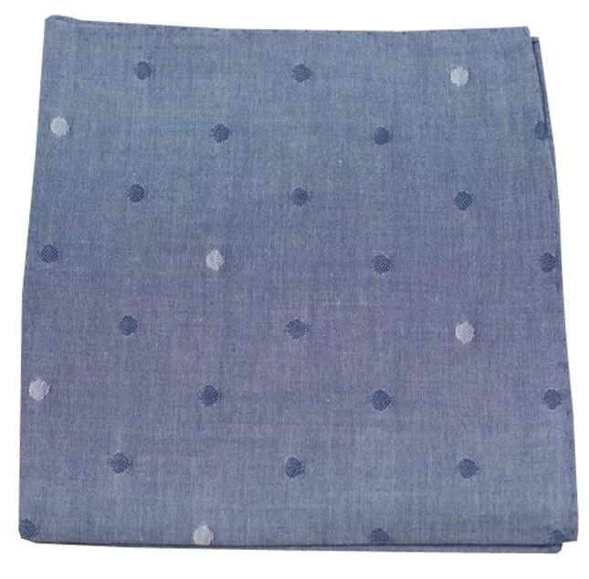 Chambray Polka Warm Blue Pocket Square