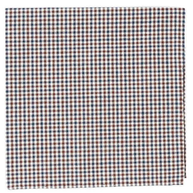 Gulf Shore Gingham Brown Pocket Square