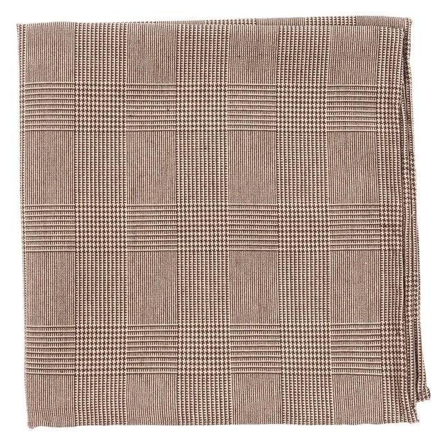 Cotton Glen Plaid Brown Pocket Square