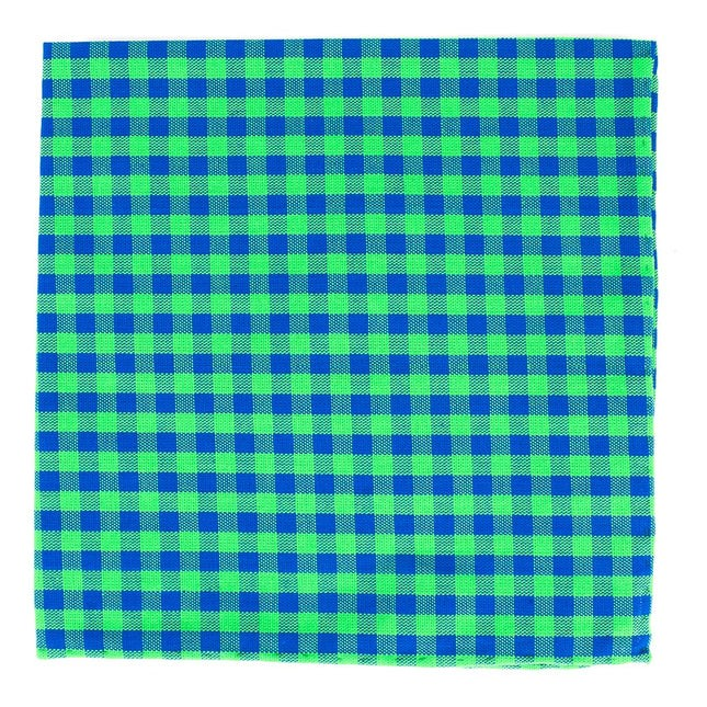 Gingham Shade Apple Green Pocket Square