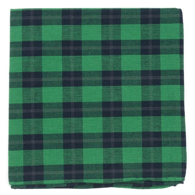 Streetwise Check Green Pocket Square