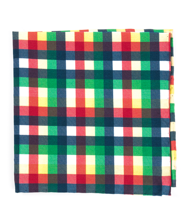 Acoustic Check Green Pocket Square