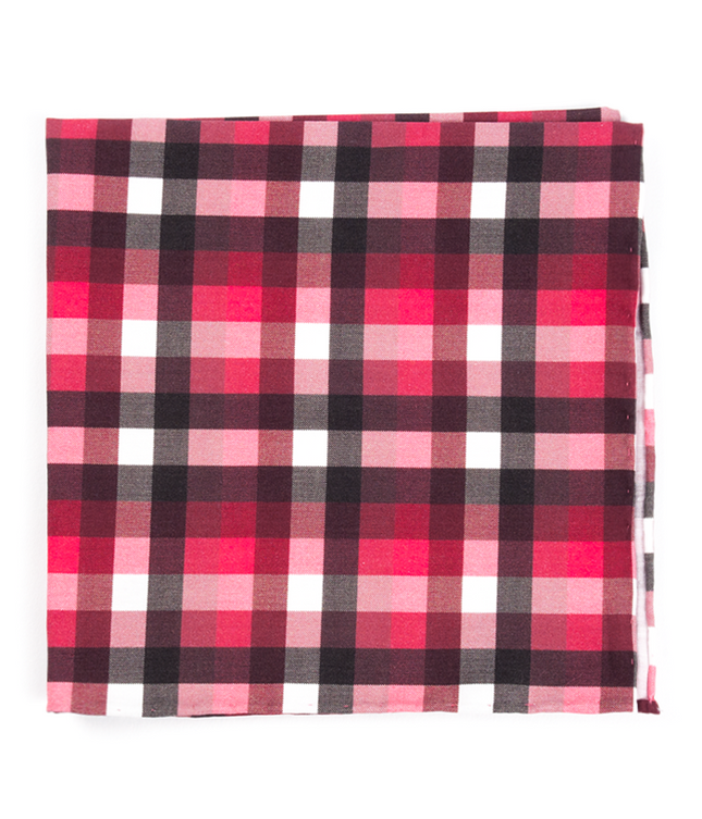 Acoustic Check Red Pocket Square