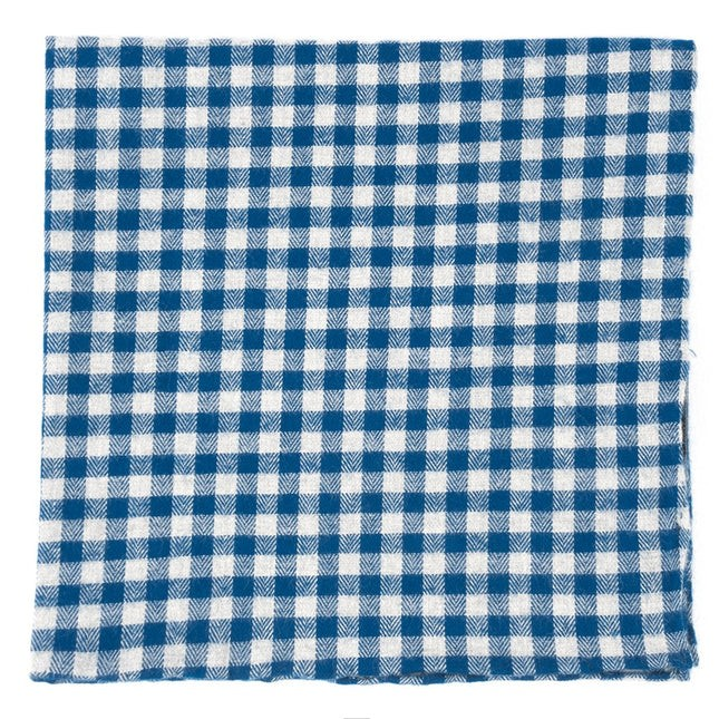 Stein Checks Royal Blue Pocket Square