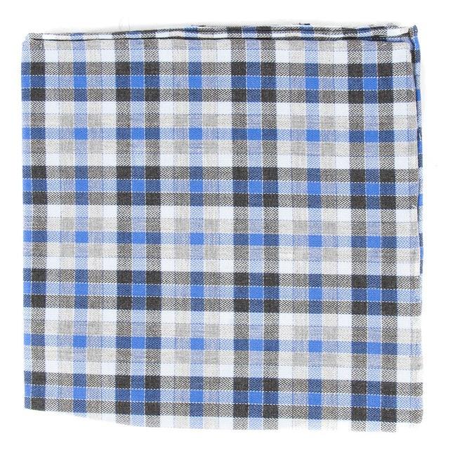 Steel Checks Grey Pocket Square