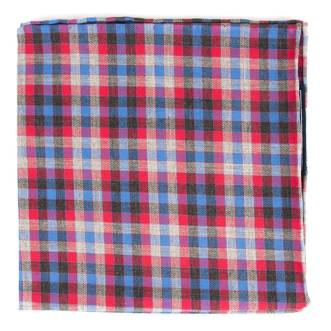 Steel Checks Apple Red Pocket Square