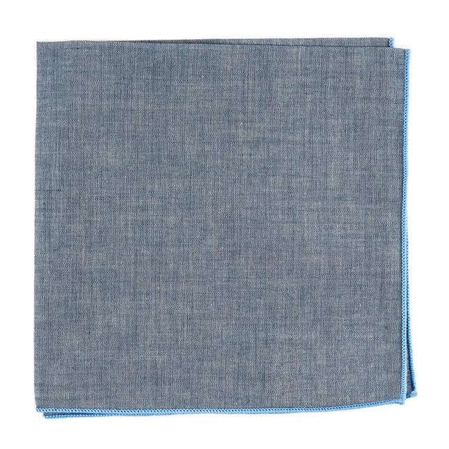 Denim Chambray With Border Light Blue Pocket Square