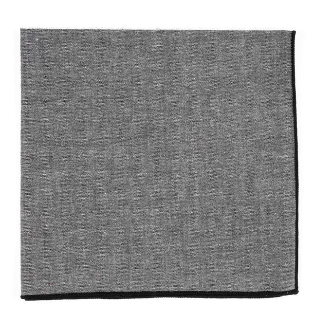 Grey Chambray With Border Black Pocket Square