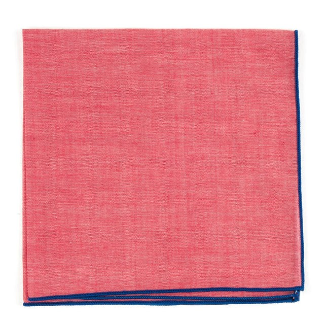 Red Chambray With Border Royal Blue Pocket Square