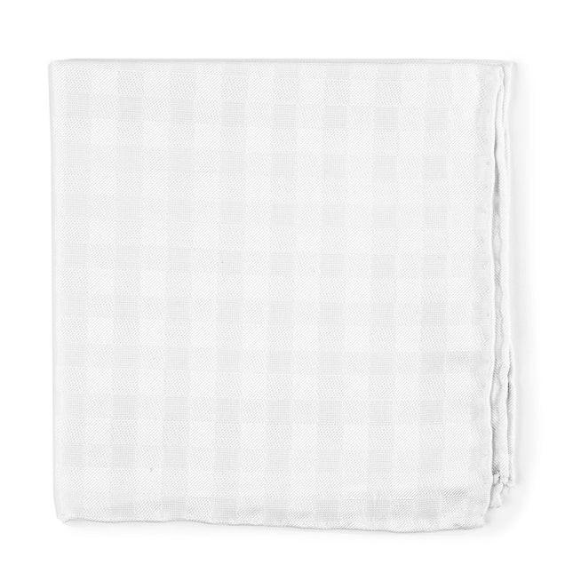 Cotton Checks White Pocket Square
