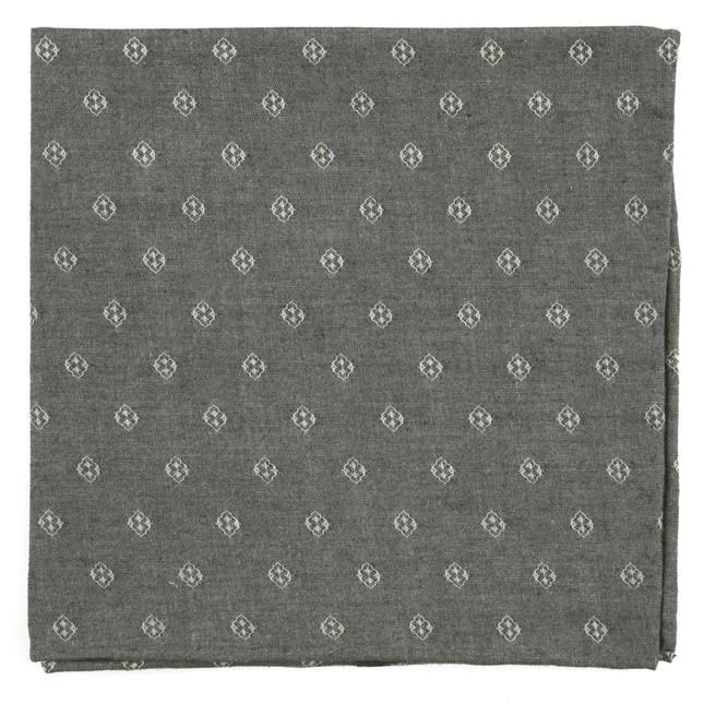 Geo Stamp Grey Pocket Square