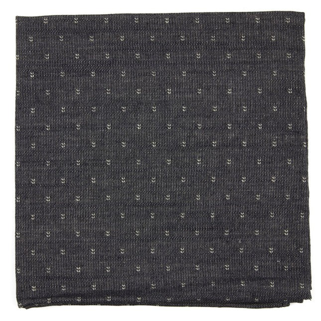 Studded Cotton Geo Charcoal Pocket Square