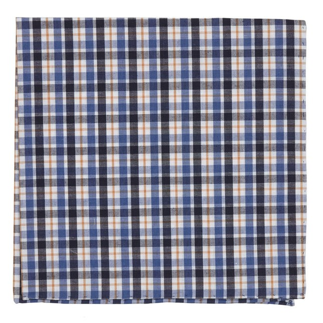Kenmore Plaid Blue Pocket Square