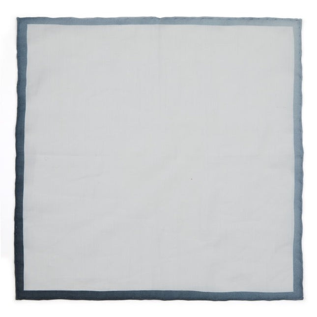 White Linen With Ombre Border Grey Pocket Square