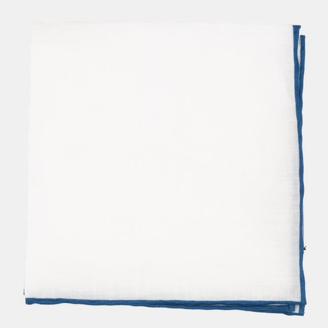 White Linen With Rolled Border Slate Blue Pocket Square