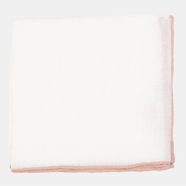 White Linen With Rolled Border Rose Quartz Pocket Square