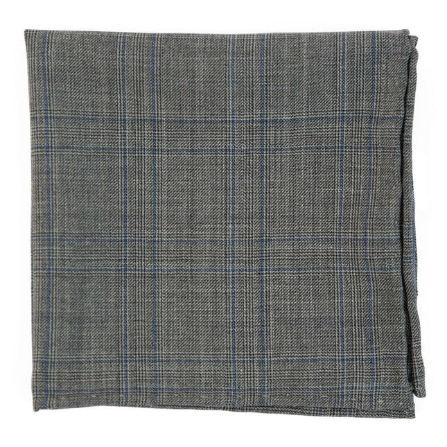 Cord Plaid Grey Pocket Square