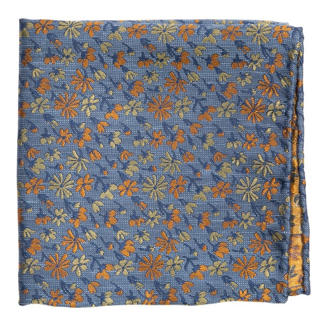 Daffodil Garden Slate Blue Pocket Square