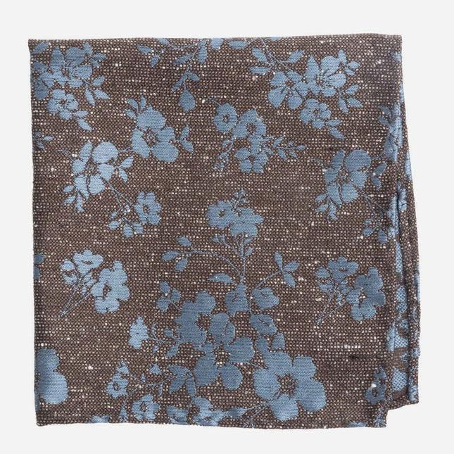 Onyx Floral Brown Pocket Square