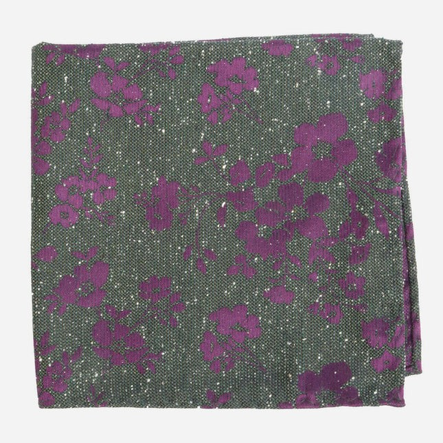 Onyx Floral Hunter Green Pocket Square