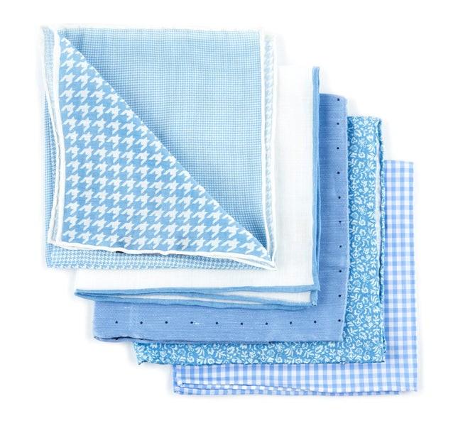 Trendy Light Blue Pack Pocket Square