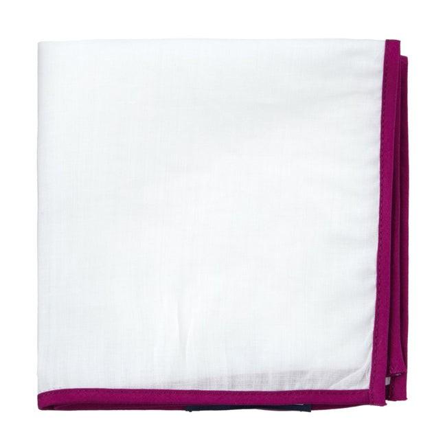White Linen With Border Magenta Pocket Square