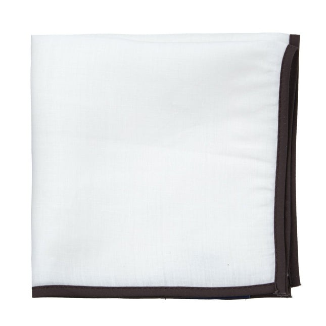 White Linen With Border Chocolate Pocket Square