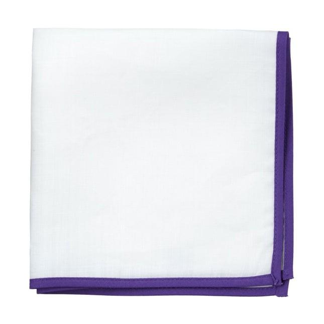 White Linen With Border Plum Pocket Square