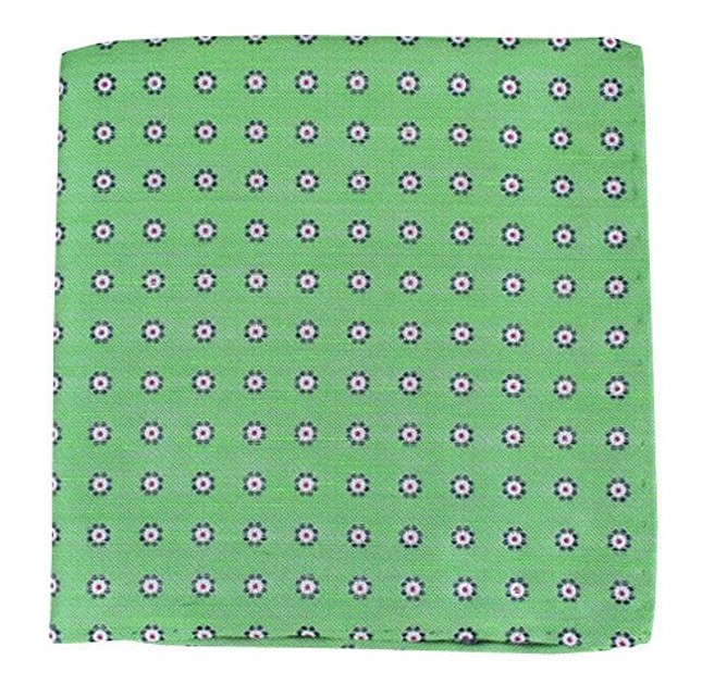 Half Moon Floral Apple Green Pocket Square