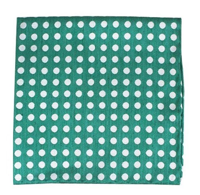 Cherry Beach Dots Mint Pocket Square