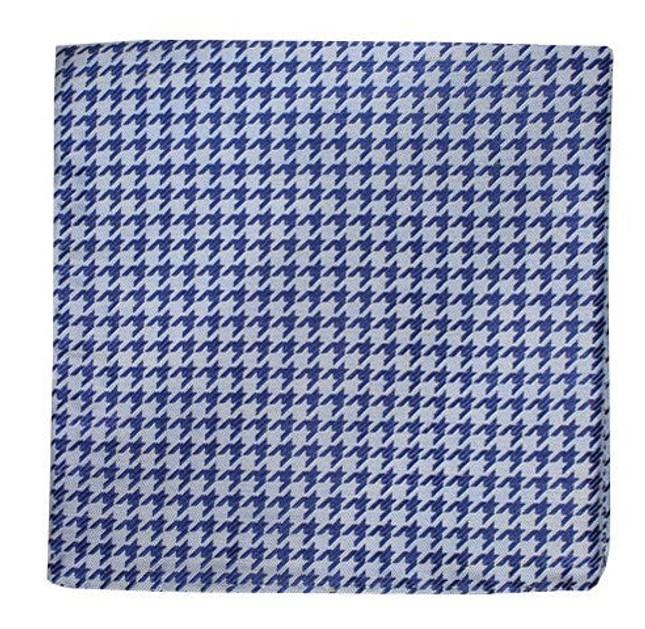 White Wash Houndstooth Soft Blue Pocket Square