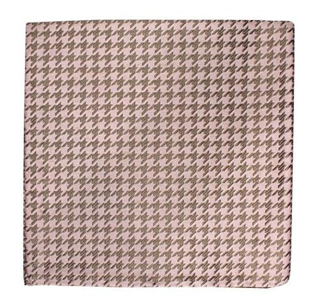 White Wash Houndstooth Soft Pink Pocket Square