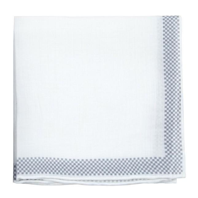 Linen Check White Pocket Square