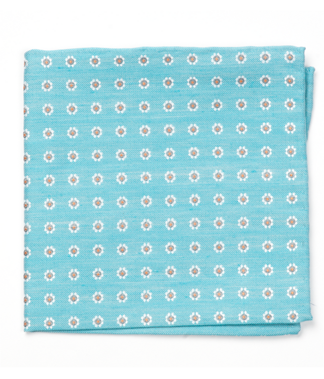 Half Moon Floral Turquoise Pocket Square