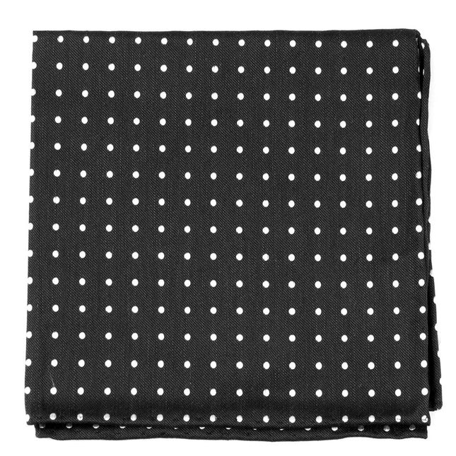 Dotted Dots Black Pocket Square