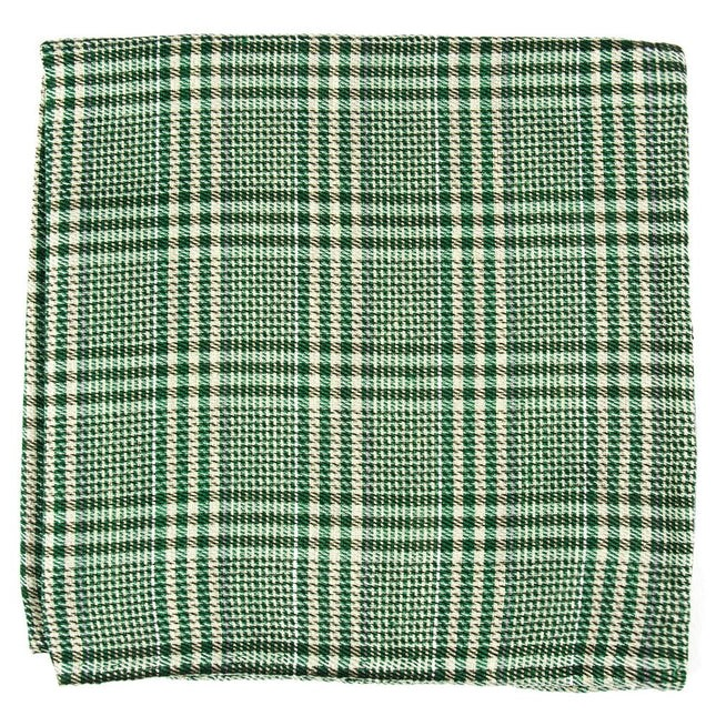 Columbus Plaid Moss Green Pocket Square