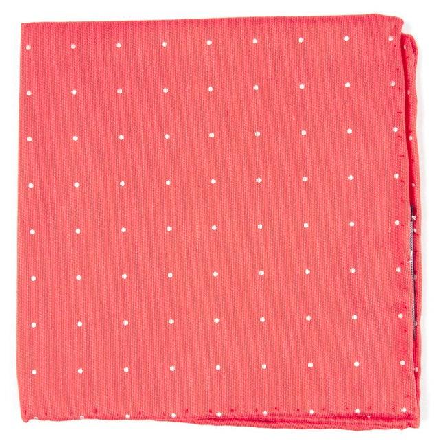 Bulletin Dot Coral Pocket Square