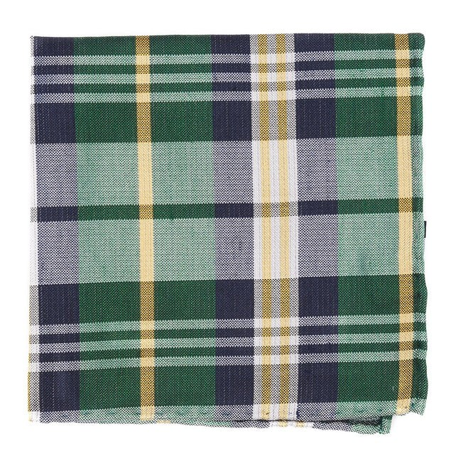Crystal Wave Plaid Hunter Green Pocket Square