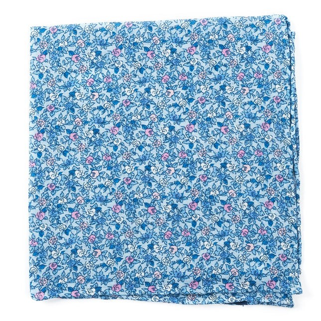 Floral Buzz Sky Blue Pocket Square