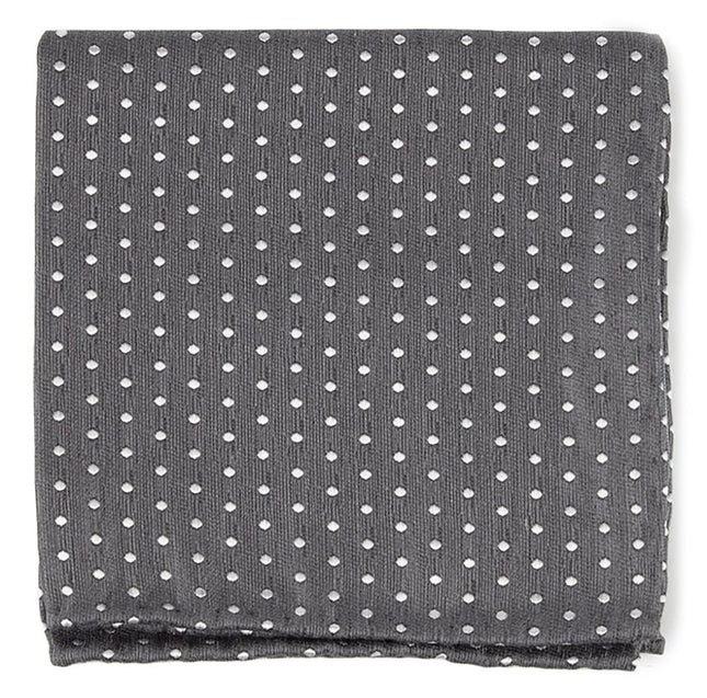 Shock Dots Charcoal Pocket Square