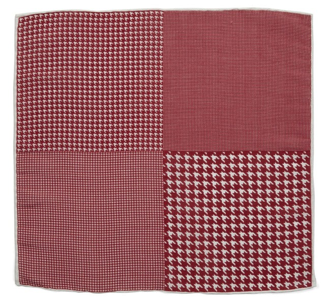 Linen Houndstooth Pane Red Pocket Square