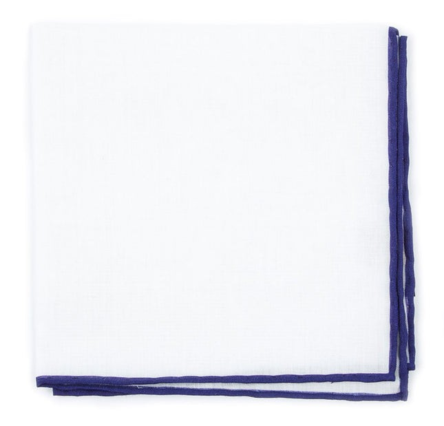 White Linen With Rolled Border Deep Eggplant Pocket Square