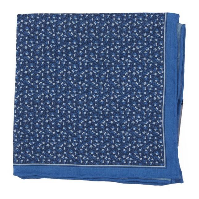 Floral Mark Blue Pocket Square