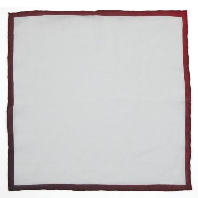 White Linen With Ombre Border Burgundy Pocket Square