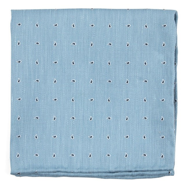 Budding Paisley Light Blue Pocket Square