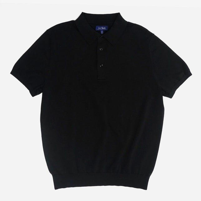 Solid Cotton Sweater Black Polo