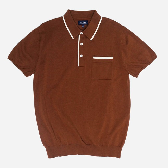 Tipped Cotton Sweater Brown Polo