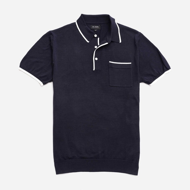 Tipped Cotton Sweater Navy Polo