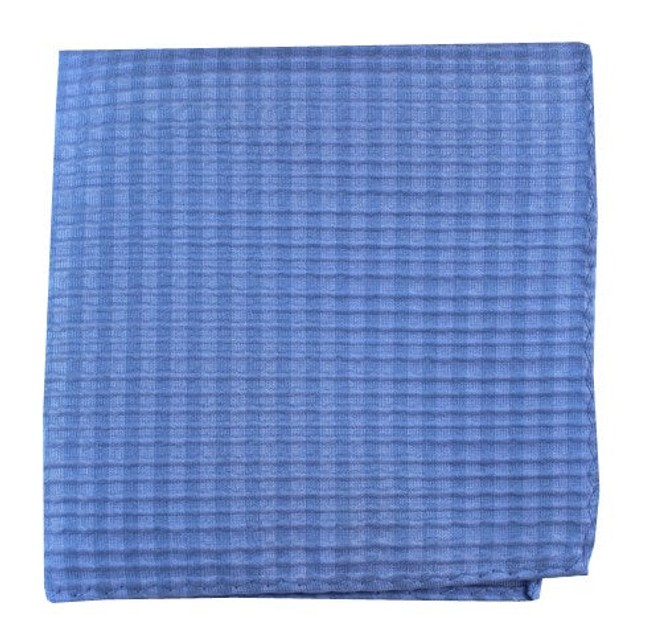 Silk Seersucker Solid Light Blue Pocket Square